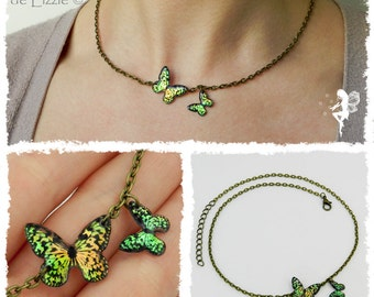 Iridescent Butterflies Necklace - Customizable