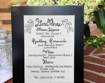 Custom Handwritten Wedding Calligraphy Signs. Place Cards, Escort Cards, Menu Cards, Invitation Envelopes & Programs Available