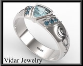 Trillion Cut Blue Topaz Wedding Band For A Men and Flower Blue Topaz Engagement Ring -  Custom order for Tresa