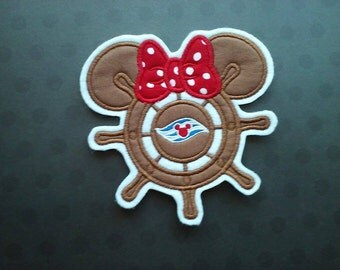 DCL Cruise Embroidered Applique ~ Ship Wheel Patch ~ Iron On ~ No Sew ~ Fish Extender