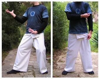White Thai Fisherman Pants - Fishermen Trousers - Wrap Pants - Rave - Cotton - Yoga - Men - Women - Fisherman - Thailand - Plain White Color