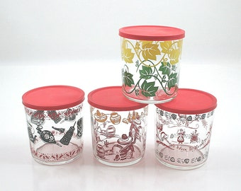 Vintage Hazel Atlas Cottage Cheese Glasses - Collection of Four with Lids