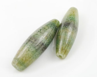 Green Brown Banded Agate Pendant Bead - 38x11mm - Set of 2