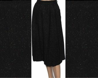 Vintage 1950s Skirt Designer Wiggle Hourgass Black Skirt Garden Party Rockabilly Mad Man Men Pinup Bombshell Wool Skirt