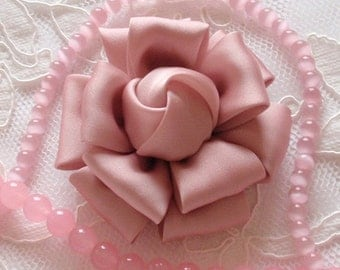 Larger Handmade Silk Flower Fabric Flower Fabric Rose (2.5 inches) In Mauve  My-298-27 Ready To Ship