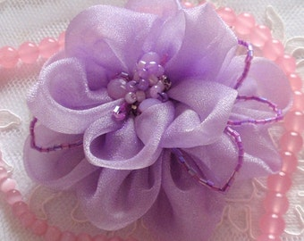 Lager Handmade Organza Flower  (3-1/2 inches) in Lavender MY-326-03  Ready To Ship