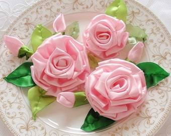 3 Handmade Ribbon Rose With Leaves In Rose pink and Green MY-334  Ready To Ship