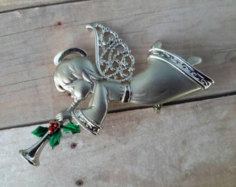 vintage flower brooch pin jewelry costume Christmas angel