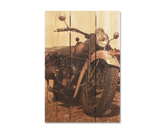 16x24 Classic Motorcycle on Cedar Wood, Indoor and Outdoor Art, Wall Decor, Wall Hanging, Man Cave Decor. (CR1624)