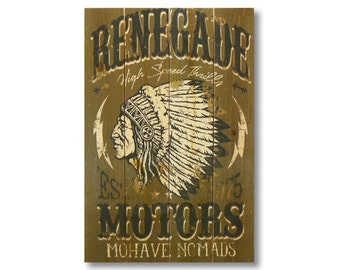 """14x20 """"Renegade Motors """" on Cedar. Indoor and Outdoor Safe Wall Hanging Rustic Decor (WRMM1420)"""