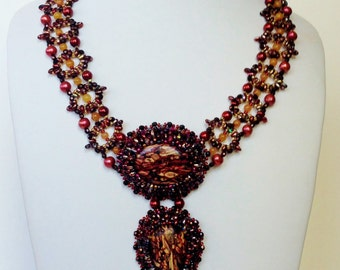 Red Tumblestone Pendant with Gold Beaded Chain