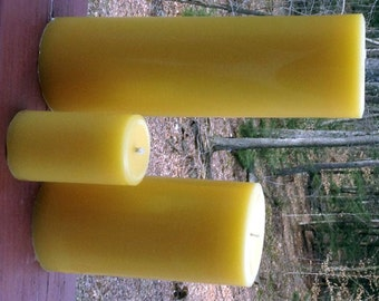 """100% Natural Beeswax Pillar Candle 3.5"""" - Scented or Unscented"""