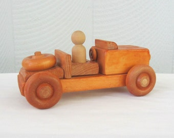 Vintage Wooden Car with Driver, Handcrafted Child's Wood Block Automobile for Kids, Circa 1980s.