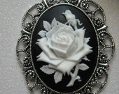 White Rose Antique Silver Brooch