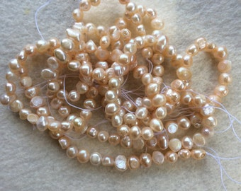 Peach colored Flat Sided Potato Pearl Jewelry Making Supplies