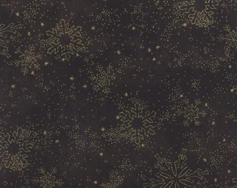 Let It Glow Metallics, Ebony Snowflakes by Sentimental Studios  by Moda 33004 14M