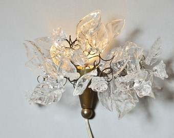 Bouquet wall light plug inn with flowers and leaves at clear Transparent color for bedroom lighting or wall