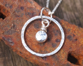 necklace pendant, sterling silver, pebble ring pendant, chain options available, handmade by arc jewellery uk