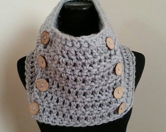 Crochet Scarf chunky yarn, Crochet Cowl, Crochet Button Scarf, Woman's Scarf, Neckwarmer, Scarf With Buttons first place on Pinterest