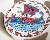 Nautical Coasters with Holder, Ceramic Coaster Set, Vintage Coasters, Hand Made in Greece, Round Pottery Coasters, 6 Drink Coasters, Bar