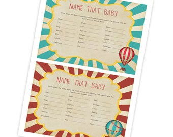 Vintage Hot Air Ballon Name that Baby Game For Baby Shower Printable INSTANT DOWNLOAD