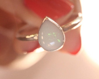 Natural Solid White Opal Ring, Teardrop shaped Ring, Hand Hammered band in Solid 925 Sterling Silver, Boho Rings, Stack Rings, Gemstone Ring