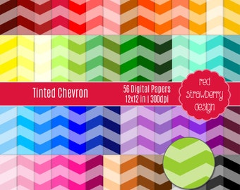 75% OFF Sale - 56 Digital Papers - Tinted Chevron - Instant Download - JPG 12x12 (DP175)
