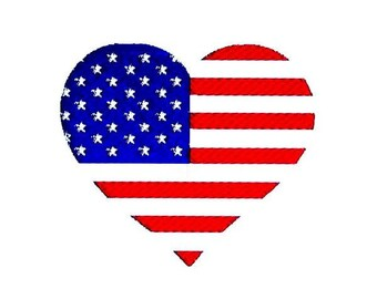 American Flag Heart Embroidery Design. Independence Day Patriotic Pattern