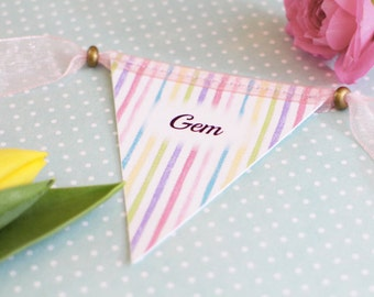 Mini Bunting Place Cards - vintage, personalised placecards