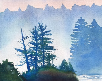Morning Mist on the Lake Watercolor Print