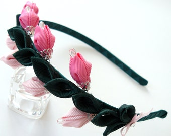 Kanzashi Fabric Flower headband. Pink kanzashi headband. Wedding headband. Pink flower headband. Pink girl's headband.