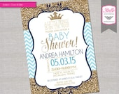Baby Shower Invitation - Prince Crown for Boy and Gold Glitter and Chevron - DIY Printable - Blue and Navy Blue