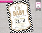 Baby Shower Invitation - Oh Baby Neutral - Black Chevron and Gold Glitter- DIY Printable - You Print