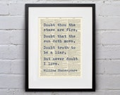 Doubt Thou The Stars Are Fire / William Shakespeare - Inspirational Quote Dictionary Page Book Art Print - DPQU191