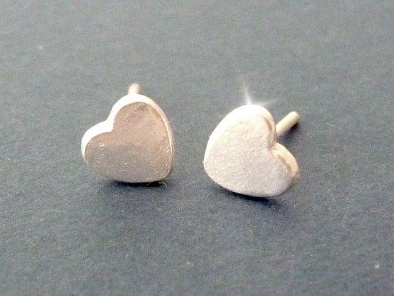 Heart Stud Earrings, Silver Stud Earrings, Tiny Heart Earrings, Everyday Stud Earrings, Best Friend Gift, Dainty Stud Earrings
