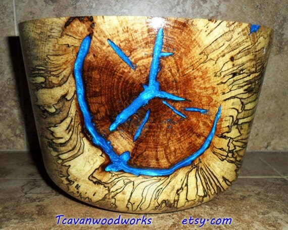 Spalted Maple Wood Bowl Spalted Large Wood Bowl Inlaid