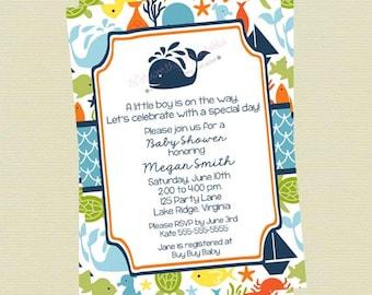 Under the Sea Baby Shower Invitations - Sea Creature Baby Shower Invite - Ocean Theme Baby Shower Invite - DIY Digital Ocean Invitations