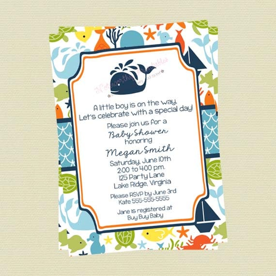 Under the Sea Baby Shower Invitations Sea Creature Baby Shower