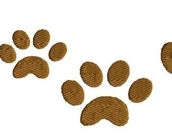 Embroidery, Paw Print Embroidery design, mini, 5 sizes, filled stitch, dog embroidery design, cat embroidery design, animal embroidery