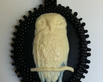 Owl Cameo Beaded Pendant with Cord