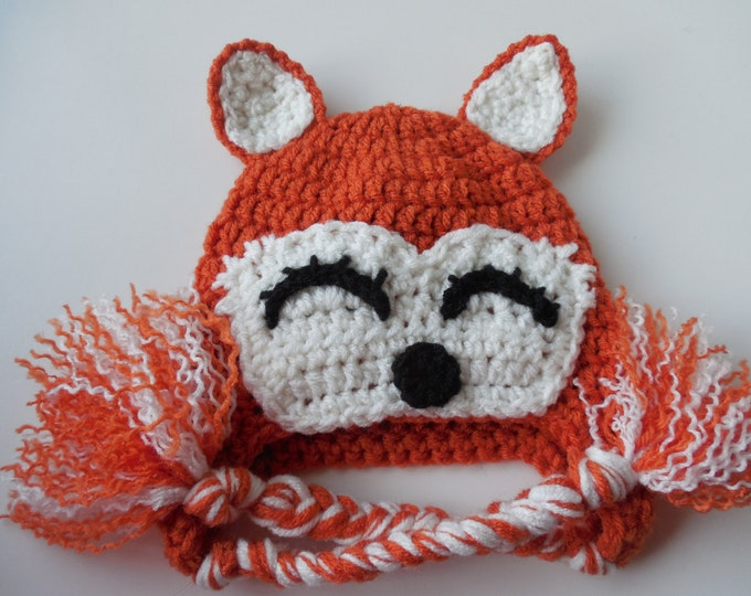 Fox Hat - Orange and White Hat - 3 to 6 Months - Photo Prop - Handmade Crochet - Ready to Ship