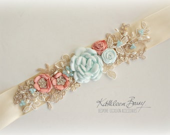 Wedding dress sash belt - floral with lace - Turquoise coral peach - pastel shades