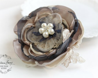 R300 Hair flower, Navy blue, antique gold and pearl option for brooch, corsage, belt accessory