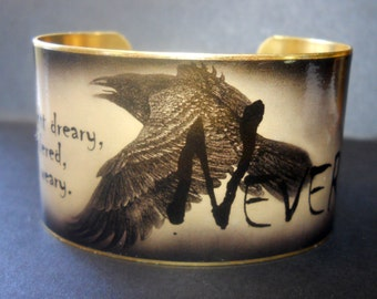 """Edgar Allan Poe """"Once Upon a Midnight Dreary"""" Quote 1 1/2 Inch Brass or Stainless Steel Cuff Bracelet"""