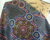 Wild Bush Flowers Black--Australian Aboriginal Fabric--Australian Fabric by the HALF YARD--Aboriginal Design--Quilt Fabric--Cotton Fabric
