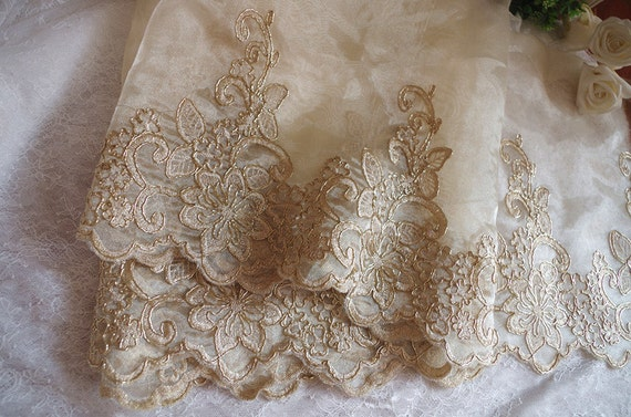 Gold Alencon Lace Trim Gold Cord Lace Trim Champagne Lace