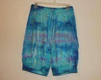 80s blue purple tie dye draw long shorts