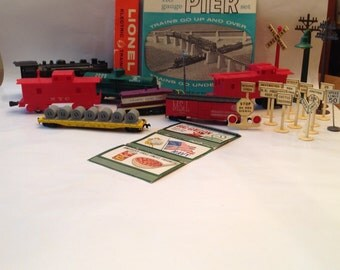 Price Reduced on Model Railroad Items HUGE Group of 7 Train Cars, Lionel Remote Control Set, Pier Set, Over 35 Accessories