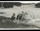 3 photos MOUNTAIN Man & kid wearing ANIMAL pelts ARMED lever action rifle 1918 Sonora California