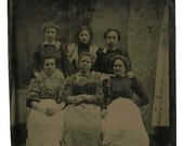 working women 6 house keeper posing all together fashion c1880 tintype photo